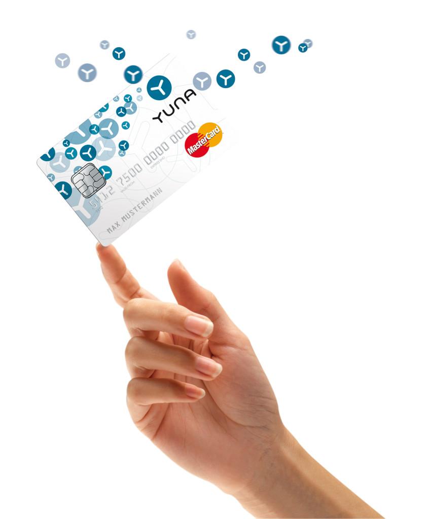 Die Yuna Kreditkarte ist eine Prepaid Kreditkarte mit einer Jahresgebühr von 24,50 Euro.